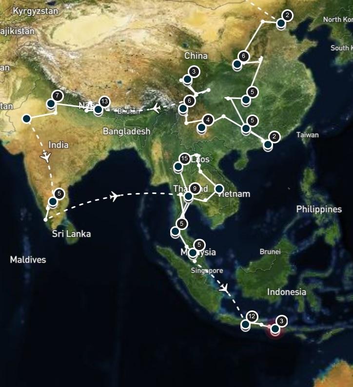 TDM Queenie Yoan Itinéraire Asie du sud-est