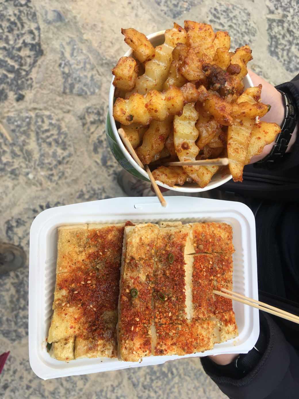 potatoes and tofu